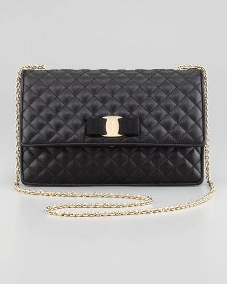 Ginny Vara Quilted Flap Shoulder Bag, Black