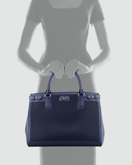 Batik Laser-Cut Tote Bag, Oxford Blue