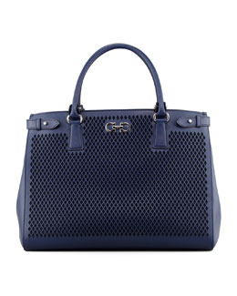 Salvatore Ferragamo Batik Laser-Cut Tote Bag, Oxford Blue