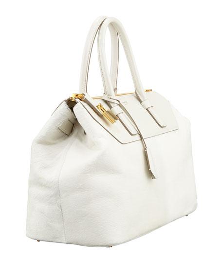 Petra Calf Hair Satchel Bag, Chalk