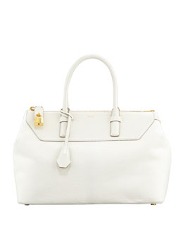 Tom Ford Petra Calf Hair Satchel Bag, Chalk