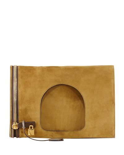 Tom Ford Alix Suede Padlock & Zip Shoulder Bag