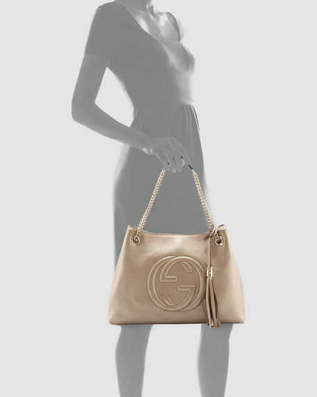Soho Metallic Leather Tote Bag, Golden