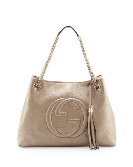 e7f72f69 Soho Metallic Leather Tote Bag, Golden