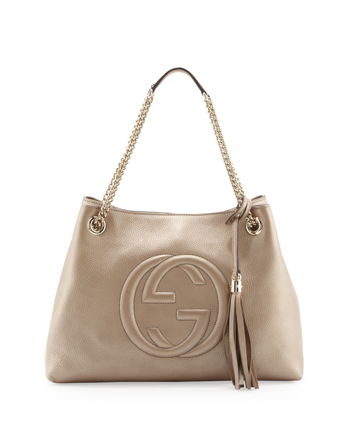 3a8be5673 Gucci Soho Metallic Leather Tote Bag, Golden | Neiman Marcus
