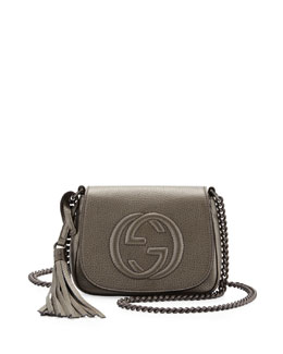 Gucci Soho Metallic Leather Chain Crossbody Bag, Gunmetal