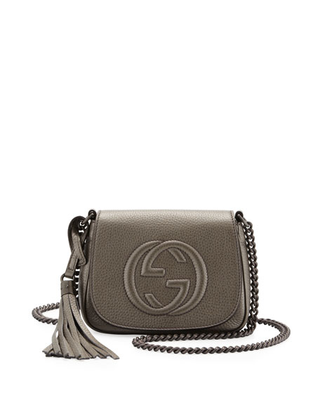 Soho Metallic Leather Chain Crossbody Bag, Gunmetal