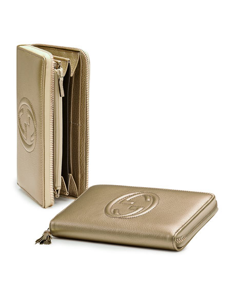 Soho Metallic Leather Zip Around Wallet, Champagne