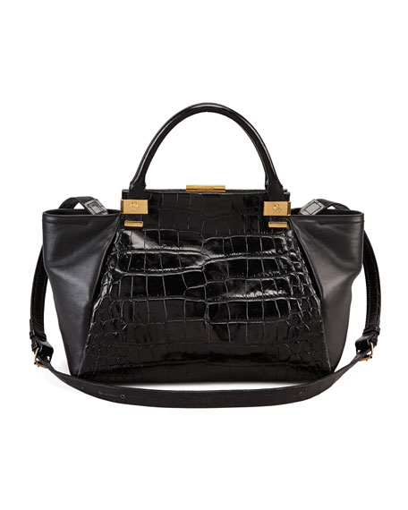 Trilogy Calfskin Tote Bag, Black