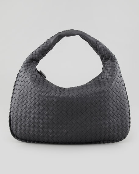 Intrecciato Medium Hobo Bag, Charcoal