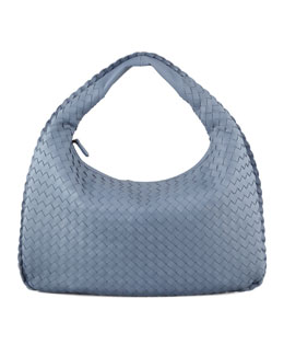 Bottega Veneta Intrecciato Medium Hobo Bag, Blue