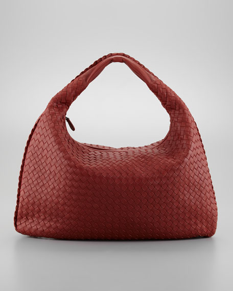 Intrecciato Woven Hobo Bag, Dark Red