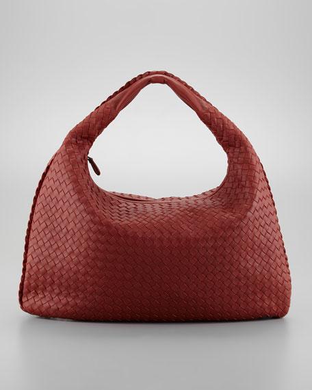 Intrecciato Woven Hobo Bag, Dark Red
