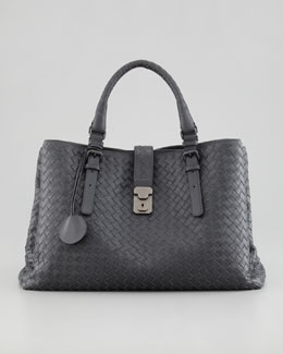 Bottega Veneta Roma Medium Woven Compartment Tote Bag, Charcoal