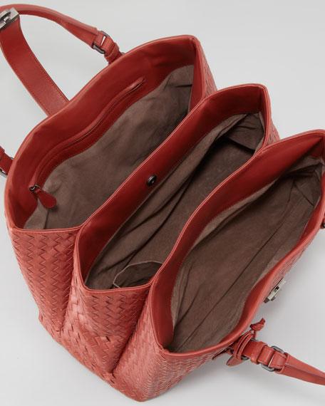 Roma Medium Woven Compartment Tote Bag, Dark Red