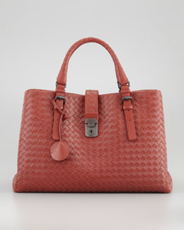Bottega Veneta Roma Medium Woven Compartment Tote Bag, Dark Red