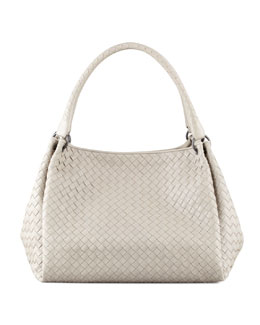 Bottega Veneta Parachute Intrecciato Medium Tote Bag, Gray