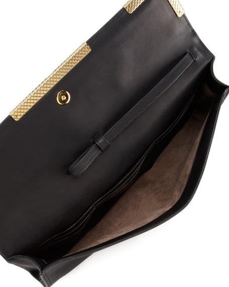 Medium Waxy Clutch Bag, Black