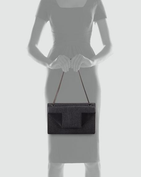 Betty Medium Saffiano Chain Shoulder Bag, Black