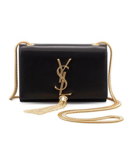 Saint Laurent Cassandre Small Tassel Crossbody Bag, Black