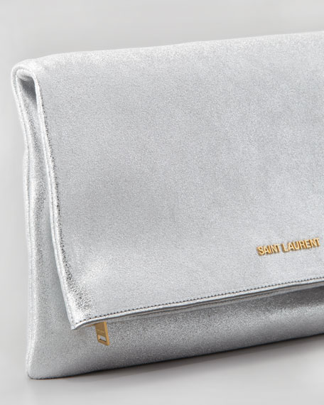 Letters Large Metallic Fold-Over Clutch Bag, Silver