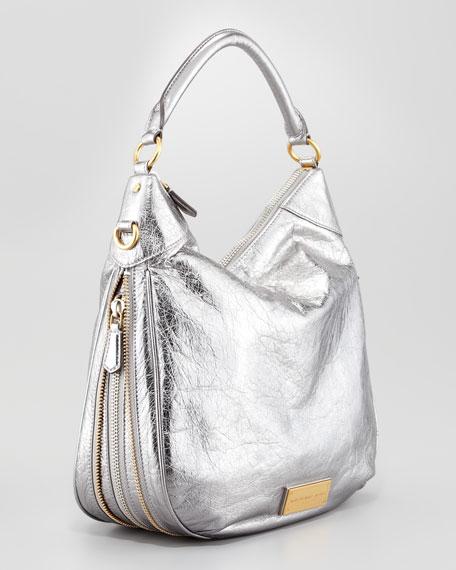 Washed Up Billy Hobo Bag, Gray Metallic