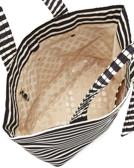 flatiron barbara striped nylon tote bag, black/white