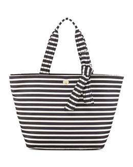 kate spade new york flatiron barbara striped nylon tote bag, black/white