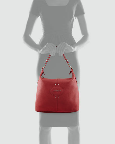 Quadri Leather Hobo Bag, Red