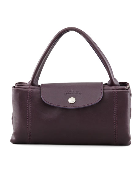 Le Pliage Leather Handbag, Purple