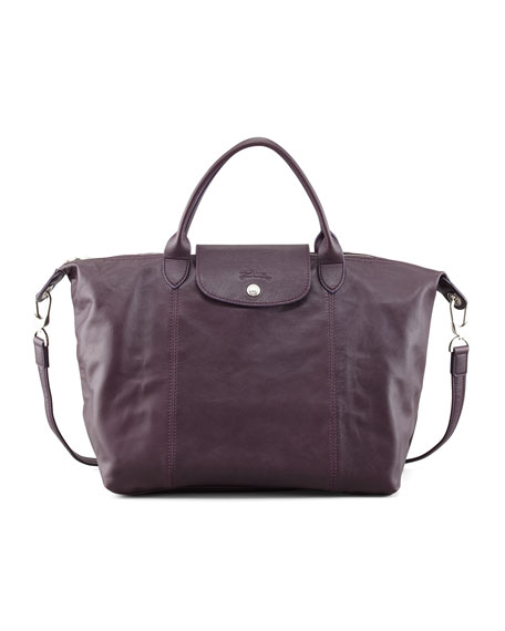 Le Pliage Leather Handbag, Purple