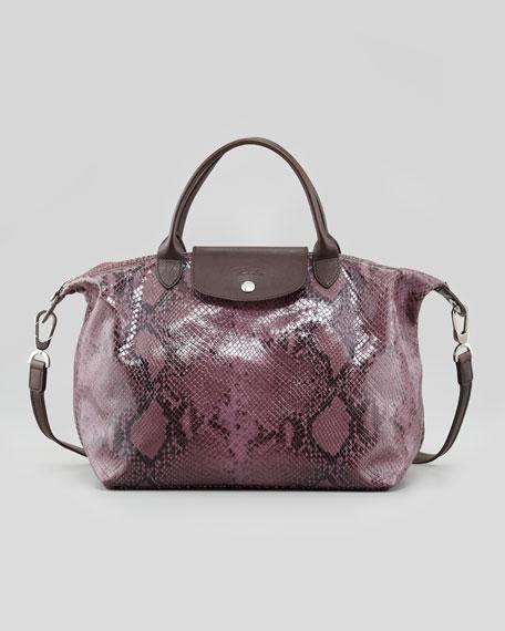La Pliage Python-Embossed Handbag, Lilac
