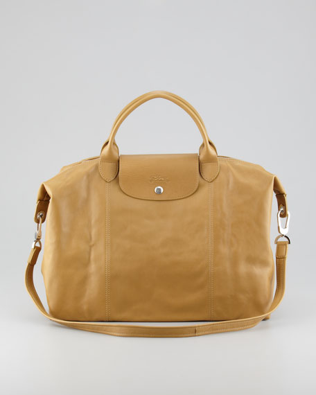 Le Pliage Cuir Large Handbag with Strap, Yellow