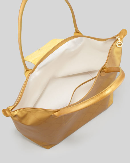 LM Metal Shoulder Tote Bag, Gold
