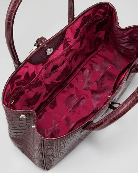 Roseau Crocodile-Embossed Shoulder Bag, Purple