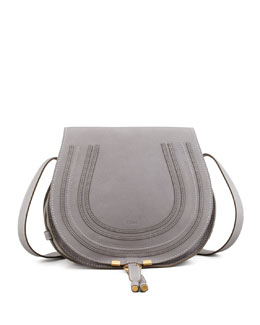 Chloe Marcie Horseshoe Crossbody Satchel Bag, Cashmere Gray