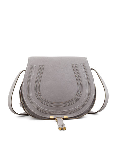 Chloe Marcie Medium Leather Crossbody Bag, Gray
