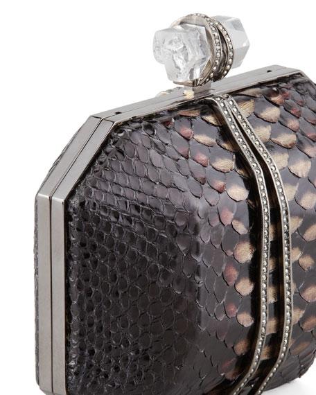 Iris Python Box Clutch Bag, Multi