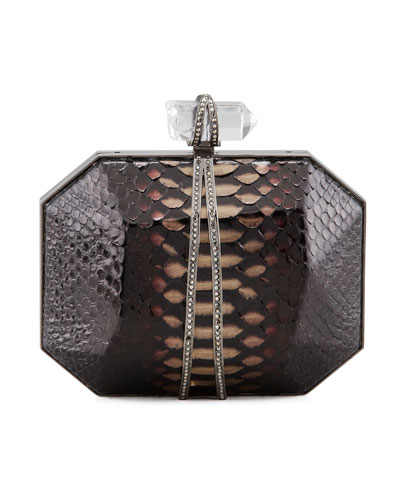 Iris Python Box Clutch Bag, Multi