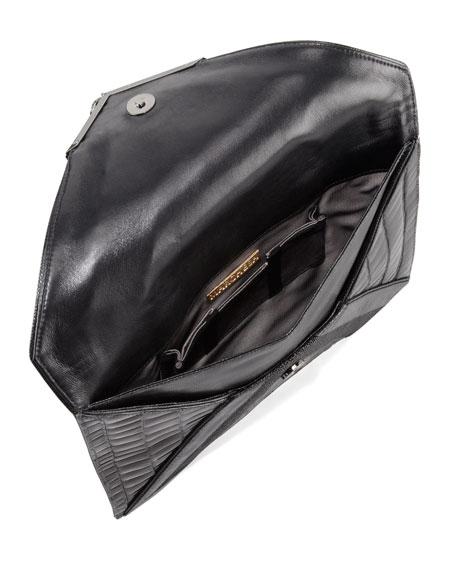 Elisa Mixed-Exotic Clutch Bag, Black