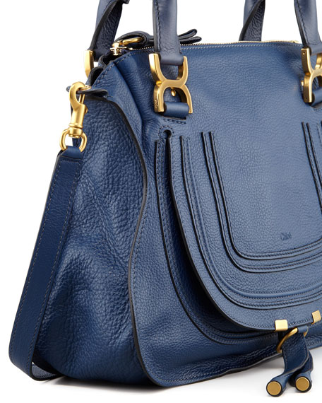 Marcie Medium Satchel Bag, Navy