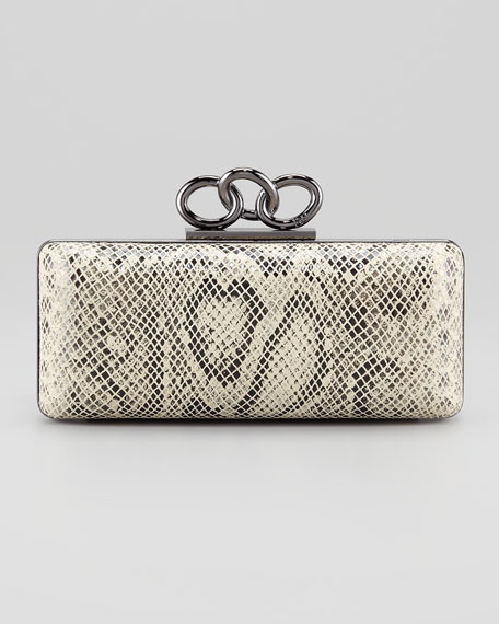 Sutra Snake-Print Chain-Top Clutch Bag, Natural