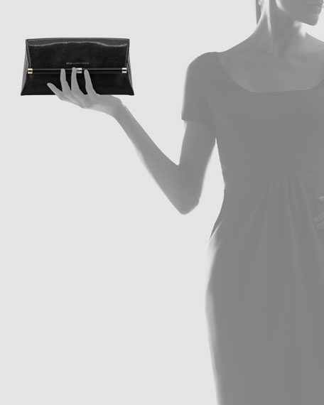 Lizard-Embossed Envelope Clutch Bag, Black