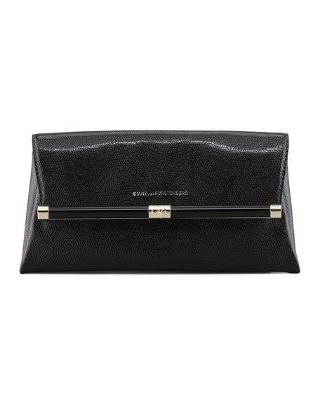 Lizard-Embossed Envelope Clutch Bag, Black