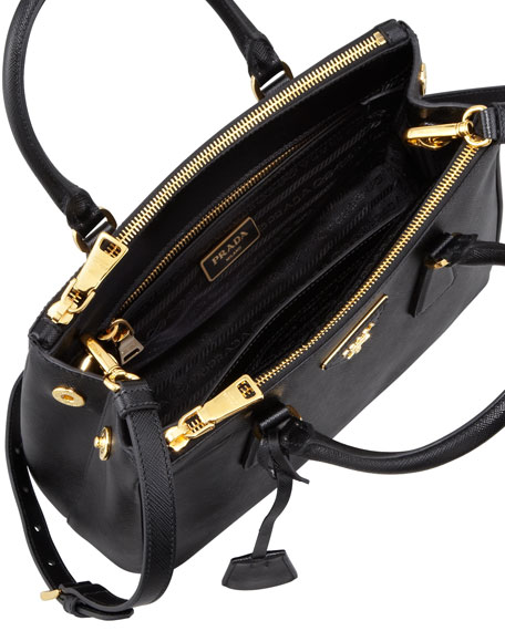 8bf54a414d75 Prada Saffiano Double-Zip Mini Crossbody, Black (Nero)