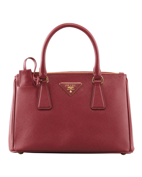 Mini Saffiano Lux Tote Bag, Wine (Cerise)