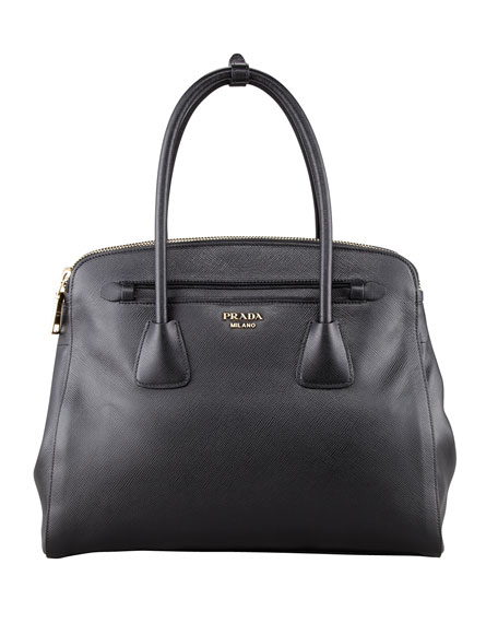 Saffiano Cuir Large Double-Zip Tote Bag, Black (Nero)