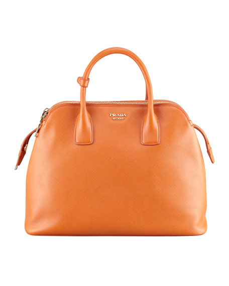 Soft Saffiano Triple-Zip Satchel Bag, Orange