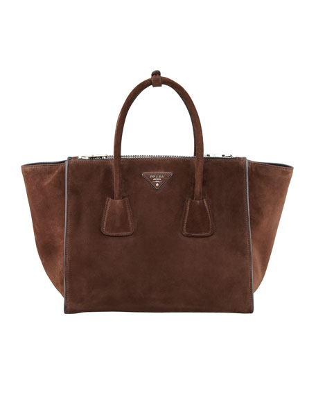Suede Twin Pocket Tote Bag, Brown (Morgano)