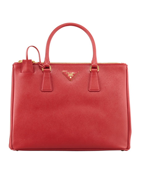 Prada Medium Saffiano Double-Zip Executive Tote Bag, Red
